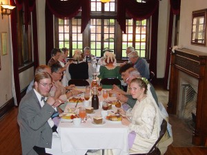 "Tour group enjoys dinner with the cast of ""The Wedding of Emma Seiberling"""