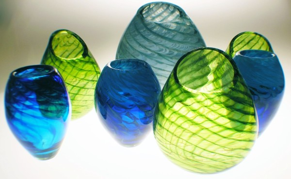 Feather vases made at Kokomo Opalescent Glass